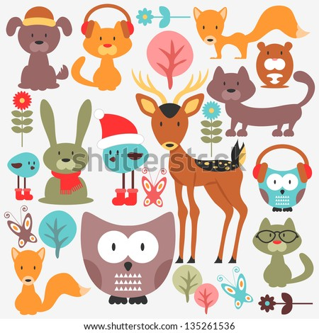 Set of various cute animals