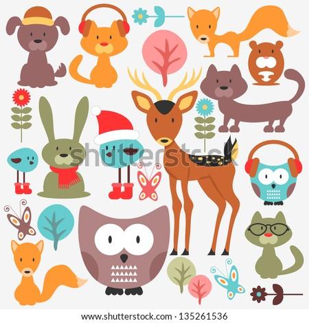 Set of various cute animals