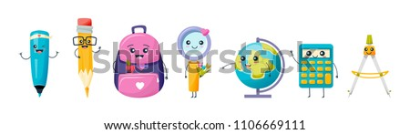 Set of various cute school and work tools and stationery. Funny, funny set: marker, pencil with eraser, backpack, magnifier, globe earth, calculator, compasses. Vector illustration