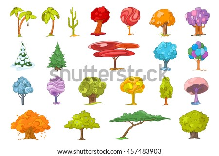 set of various cute trees
