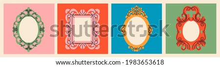 Set of various decorative Frames or borders. Different shapes. Photo or mirror frames. Vintage, retro design. Elegant, modern style. Hand drawn trendy Vector illustration. All elements are isolated