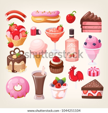 Set of various delicious desserts food with fruit, chocolate and strawberry flavors. Sweet eatings from bakery, pastry and coffee shops. Isolated vector illustrations