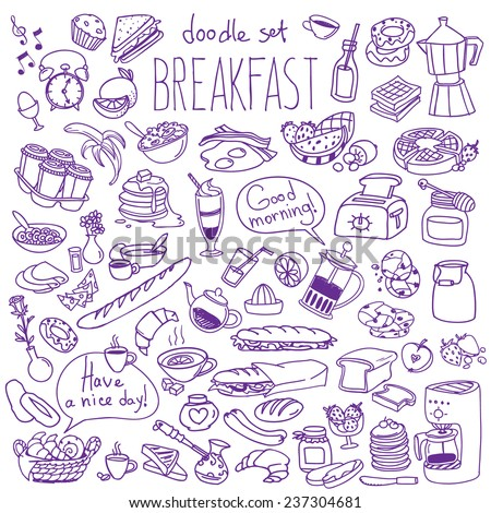 Set of various doodles, hand drawn rough simple breakfast meals sketches. Vector illustration isolated on white background