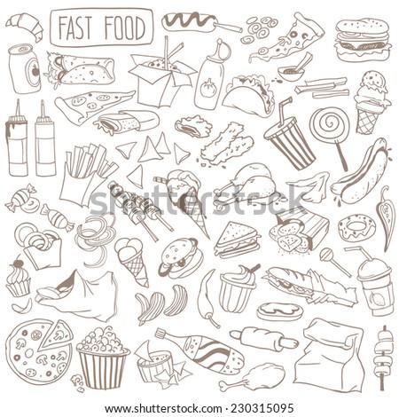 set of various doodles  hand