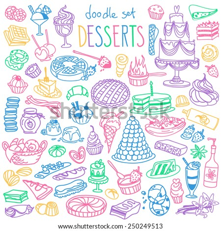 Set of various doodles, hand drawn rough simple sketches of different kinds of desserts, sweets, candies, pastries. Vector freehand illustration isolated on white background.