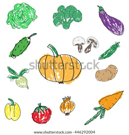 Set of various doodles, hand drawn rough simple sketches of different kinds of vegetables. #446292004