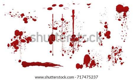 Set of various dripping blood splashes,collection of dripping drops and trail blood paint splatters on white background,,dripping blood seamless,Halloween blood vector concept