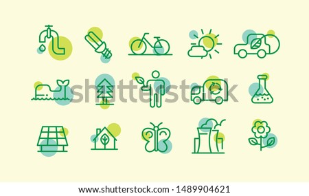 Set of various ecology icons in outline drawing style. Vector illustration.