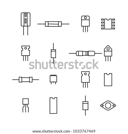 Set of various electronic and radio components of the thin lines, isolated on white background. Flat style, vector illustration.