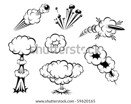 Set of various explosions isolated on white or logo template. Jpeg version also available in gallery - stock vector