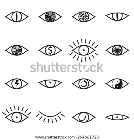 set of various eye icons on