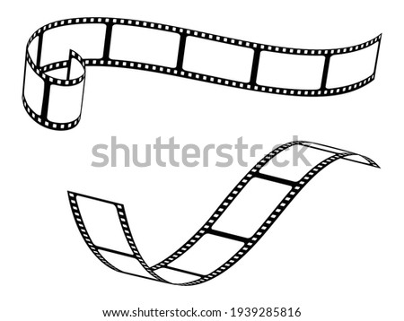 Set of various film strips. A collection of silhouettes of photographic film for the development of frames. Vector illustration of blank cinema film strip isolated on white background.