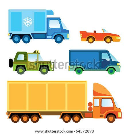 Set of various funny toy cars - vector illustration