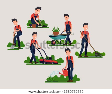 Set of various gardener poses and activities featuring mowing, digging, watering, planting and more. Cool flat vector character design on garden maintenance professional performing
