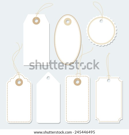 Set of various gift tags, Labels. Paper labels. Isolated vector elements, flat design.