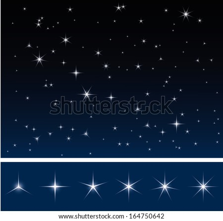 set of various glittering stars