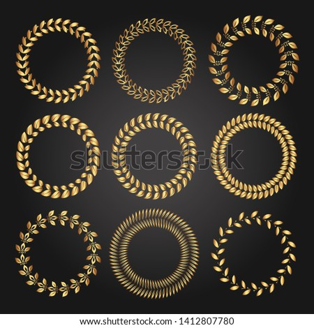 Set of various golden laurel wreaths. Luxury reward for VIP person. The award ceremony in the competition. The symbol of victory. Ornament for certificate, insignia or quality.