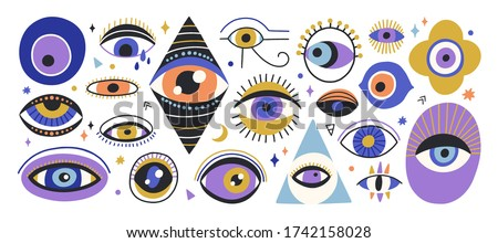 Set of various hand drawn doodle eyes vector flat illustration. Collection of evil, ra, turkish, greek and esoteric eye different shapes isolated on white background. Colorful clairvoyance elements