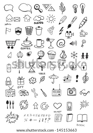 Set of various hand drawn icons