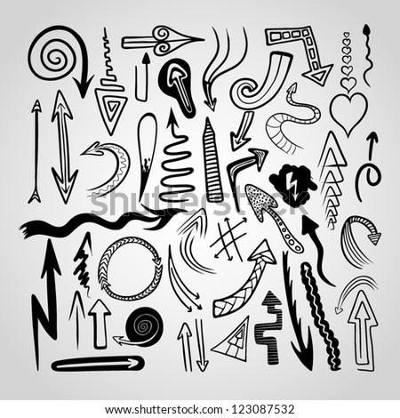Set of various hand drawn vector arrows.