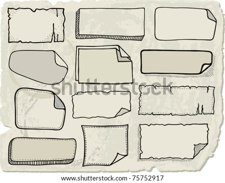 Set of various hand drawn vector note papers