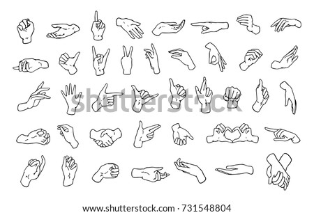 Set of various hand gestures, symbols shown with palm and fingers drawn with black contour lines on white background. Non-verbal or manual communication, body language. Monochrome vector illustration.
