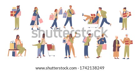 Set of various happy people buyer vector flat illustration. Collection of different man, woman, couple and child with gift box, trolley and shopping bag isolated on white. Joyful shopaholic person