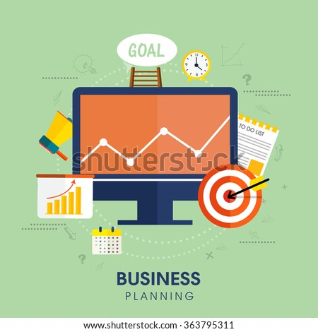 Set of various infographic elements for Business Planning concept.