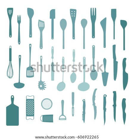 Set of various kitchen tools - vector illustration