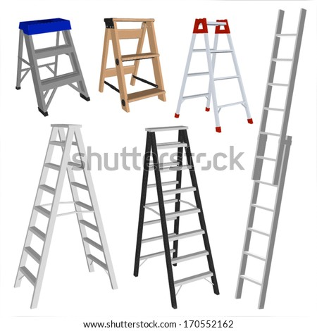 set of various ladders on the
