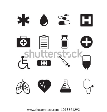 Set of 16 various medical icons. One color.