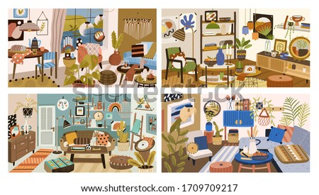 Set of various modern interior design of living room vector graphic illustration. Collection of colorful cozy apartments furnished with stylish decoration. Trendy furnishing decorations inside house