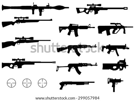 set of various modern weapons