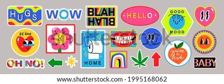 Set of Various Patches, Pins, Stamps or Stickers. Abstract funny cute comic Characters. Different Phrases and words. Hand drawn trendy Vector illustration. Cartoon style. All elements are isolated.