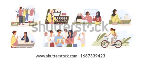 Set of various people conscious consumption lifestyle vector flat illustration. Collection of different person enjoying eco-friendly way of life isolated on white. Saving environment together