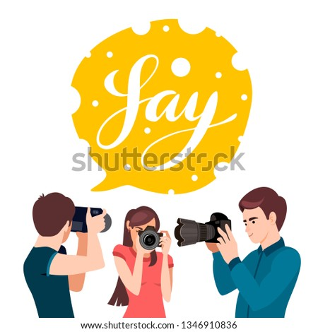 Set of various photographers holding photo camera and photographing. Creative profession or occupation. Cute female and male cartoon characters take photo shot. Photographer character illustration