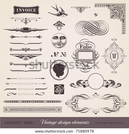 set of various playful retro design elements