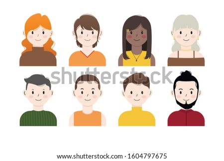 Set of various portraits of people. Portraits of women and men with long, short, wavy, straight hair. Vector flat illustration characters. Isolated on a white background. Can be used for team page.