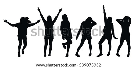 Set of various poses of a young girl - black silhouettes on white background #539075932