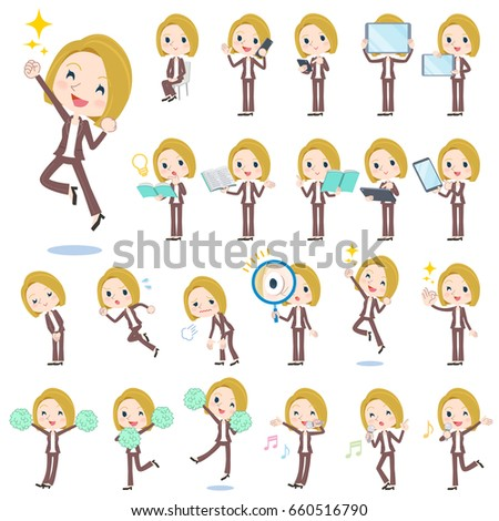 set of various poses of blond