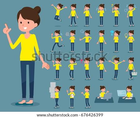 Set of various poses of flat type Bun hair mom
