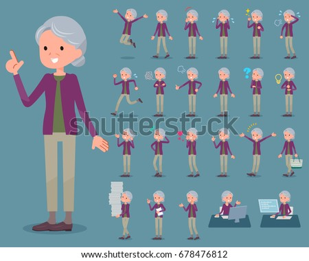 Set of various poses of flat type Purple clothes grandmother