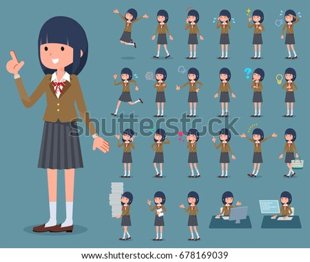 Set of various poses of flat type school girl Brown Blazer_1