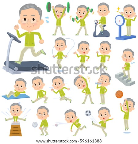 set of various poses of green