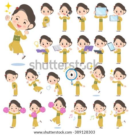 set of various poses of kimono