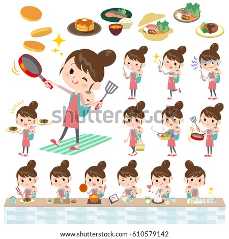 Set of various poses of Mother and baby cooking