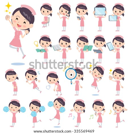 set of various poses of nurse 2