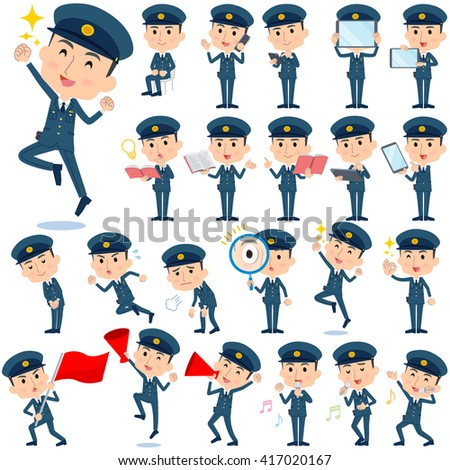 set of various poses of police