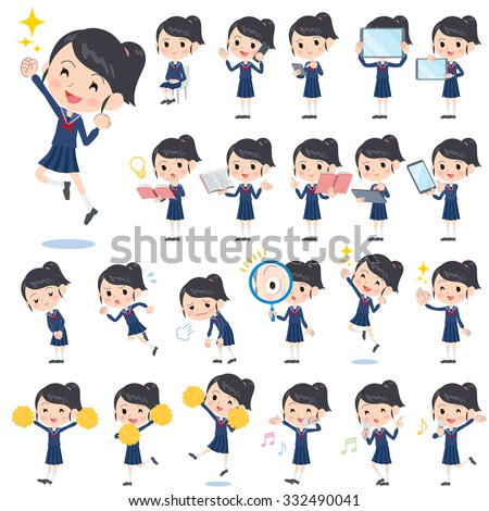 set of various poses of school
