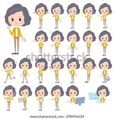 set of various poses of yellow